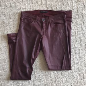 Ox blood wax coated jeans